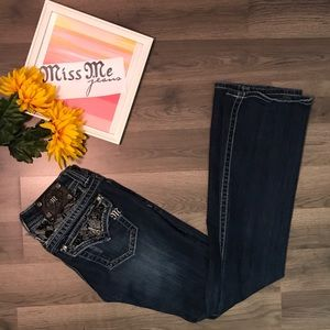 Miss Me lace rhinestone bootcut jeans